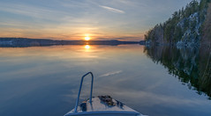 Boating for the first time this spring on a calm lake and sunset (livejungle) Tags: finland suomi boating lake sunset sky water laukaa spring kevät kallio saraakallio auringonlasku järvi tranquil calm