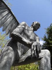 Durham Angel News Of The World (Nekoglyph) Tags: thedurhamangel metal steel sculpture raylonsdale statue angel hornsgardencentre shottoncolliery grey countydurham publicart green plants hand wing
