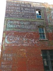 Ghost wall in Burlington, Iowa #5 (jimsawthat) Tags: smalltown burlington iowa downtown brick ghostsign vintagesign cocacola