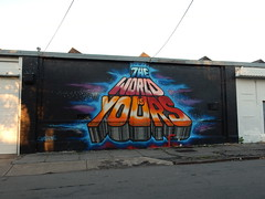 The world is yours (aestheticsofcrisis) Tags: street art urban intervention streetart urbanart guerillaart graffiti postgraffiti rochester new york ny us usa queenandrea walltherapy mural muralism