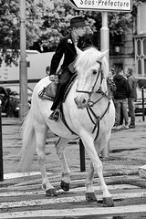 When-crossing-look-right-and-left (RS...) Tags: arles cheval gardian horse rue street noiretblanc blackandwhite d800