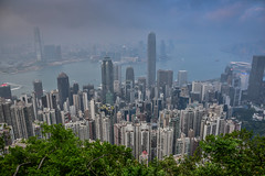 View of Hong Kong Skyline and Harbour from Victoria Peak - Hong Kong (mbell1975) Tags: hongkong hongkongisland hk view hong kong skyline harbour from victoria peak island china sar city office buildings aerial skyscrapers skyscraper building harbor sea bay clouds cloudy overcast 香港