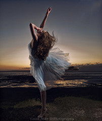 Beach Dance (modulationmike) Tags: ballet dance offcameraflash bty elegant pose skill fitness nikon sunset sand sea sky coastal somerset action movement flash strobes speedlight colour contrast tonal dress legs capture sunlit backlit
