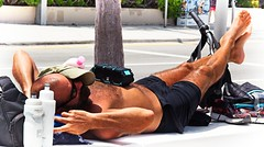 Asleep on beach (LarryJay99 ) Tags: 2018 beach streets people ftlauderdale ocean atlanticocean bikes bicycle men male man guy guys dude dudes manly virile studly stud masculine sexyman shirtless hairy hairyman peekingnipples peekingpits nipples sleeping hotguys candid unsuspecting spyman unaware shorts bike tatts tattoos barefuss barefoot feet toes toe mustasch bald belly legs thighs sleep alsee facialhair hair bulge bulging
