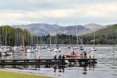 """""""Swallows and Amazons"""" Ullswater, Cumbria, England (vincocamm) Tags: mountain lake ullswater blue green trees boats dinghys masts yachts helvellyn nikon d5500 jetty pier launch fun"""