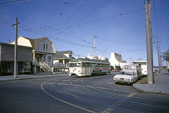 US CA San Francisco MUNI PCC 1009 8-6-1971 M-Ocean View (David Pirmann) Tags: california sanfrancisco muni tram trolley streetcar transit railroad transportation pcc
