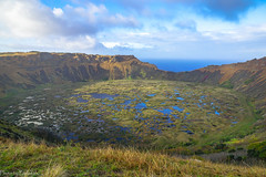 The crater of Rano Kau / Кратер Рано Кау (Vladimir Zhdanov) Tags: travel chile polynesia rapanui ocean water sky cloud landscape ranokau nature volcano lake grass