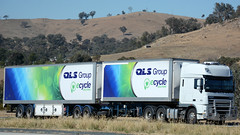 QLS DAF (Jungle Jack Movements (ferroequinologist)) Tags: qls daf group logistics solution xf 105 510 paccar albury holbrook nsw new south wales hume highway freeway brake wheel exhaust loud rumble beast hood hp horsepower gear oil haul haulage freight cabover trucker drive transport carry delivery bulk lorry hgv wagon road nose semi trailer double b deliver cargo interstate articulated vehicle load freighter ship move roll motor engine power grunt teamstertruck tractor prime mover diesel injected driver cab cabin fast australia