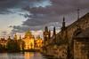 Prague sunset (hjuengst) Tags: prag prague karlsbrücke charlesbridge sunset sonnenuntergang clouds wolken brücke bridge tschechien czechrepublic malástrana kleinseite historic
