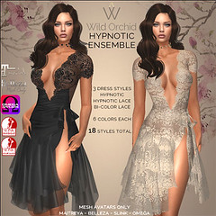 Hypnotic Ensemble (Wild Orchid Haute Couture) Tags: dress lace sexy second life female fashion clubwear datenight maitreya belleza slink omega summer