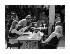 """""""Au Moulin-Blanc... En Terrasse"""" (The Blue Water Lily's Company) Tags: fdrouet nb bw monochrome monochrom bar terrasse street rue nikon d90 brest people"""