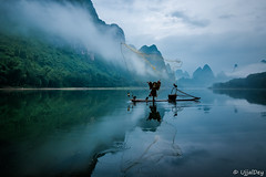 Cormorant fisherman (ujjal dey) Tags: ujjal ujjaldey guilin yangshuo china travel traveler fisherman cormorant landscape mountain river reflection dailylife morning dawn misty cloudy krast fujifilm xe2s fishing net