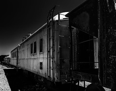024693763377-100-Union Pacific Train Cars-2-Black and White (Jim There's things half in shadow and in light) Tags: 2018 america bouldercity canon5dmarkiv may mojavedesert nevada usa nearlasvegas summer nevadasouthernrailroadmuseum car blackandwhite
