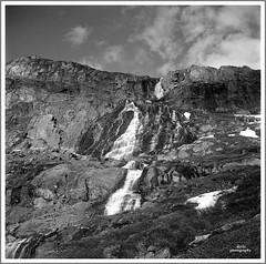 Jotunheimen Norway on spring time (adi_stoica2001) Tags: minoltaautocordm rokkor norway norge nature waterfall water manual monochrome mountains ilford panf 50 rodinal 6x6 film120mm 120mm mediumformat bw blackandwhite jotunheimen