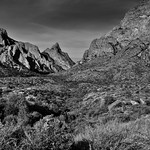Looking Across the Chisos Basin to Peaks of The Window (Black & White, Big Bend National Park) thumbnail