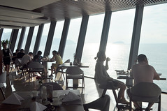 Breakfast at sunrise (Roving I) Tags: early sunrise dining guests breakfasts views vietnam sea windows angles architecture restaurants botonblue nhatrang silhouettes outlines