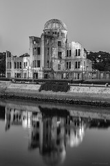 Reflections of Hiroshima (andyrousephotography) Tags: japan hiroshima 6thaugust1945 atomicbomb littleboy enolagay b29superfortress bomber abombdomebuilding hiroshimapeacememorialpark rivermotoyasu blackwhite conversion niksilverefexpro2