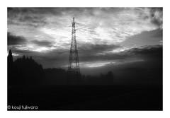 electrical tower...among the spring haze #2 (kouji fujiwara) Tags: sunrise morining fujifilm fujifilmxpro2 xpro2 xf23mmf14 xf23mm f14 fineart fine art electrical tower electricaltower monochrome blackandwhite blackwhite noir