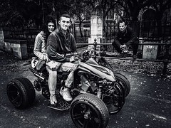 Three's A Crowd (denise.ferley) Tags: oneaday iphonephotography iphone8 quadbike thisisnorwich thisisengland citylife fun life streetphotography blackandwhitephotography peopleinthestreet peoplewatching