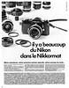 "Nikkormat camera system advertisement. (Jerry Vacl) Tags: advertisement bw camera slr nikkormat 1970june""photo""photographymagazinefromfrance nikond7200 nikkor85mmf18g"