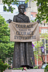Millicent Fawcett statue in Parliament Square, London (baldychops) Tags: london city capital spring icon iconic famous visit visitor parliament square parliamentsquare statue outdoor fawcett millicent millicentfawcett millicentfawcettstatue suffragette suffragist lady woman banner protest vote