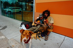 Strangers 23 and 24: Rage and Cookie (Twang Your Head) Tags: people person dog dogs homeless vagrant vagabond sit sitting seated