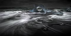 Heart of Glass (p.g604) Tags: 20180421imgp1370 heart glass iceland diamond beach glacier lagoon blue green black horizon sea jökulsárlón surf waves icebergs stones pentax k1 wideangle sigma1020 transparent