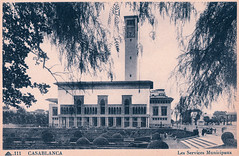 Casablanca - Les Services Municipaux (pepandtim) Tags: postcard old early nostalgia nostalgic casablanca services municipaux morocco 29cas42 hotel ville town hall topiary clocktower clock tower
