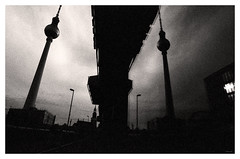 Tower Reflection (jmvanelk) Tags: berlin germany blackwhite analog filmisnotdead expiredfilm fujineopan1600 nikonf100 reflection distorsion fernsehturm