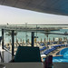 View of beach and pool area from restaurant at Jumeirah Hotel, Abu Dhabi