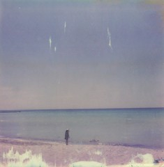solvay white beach 02 (www.matteovarsi.com) Tags: impossible polaroid sx70 sx70camera beach girl nature whitebeach seashore sea sky kid people solvaywhitebeach tuscany