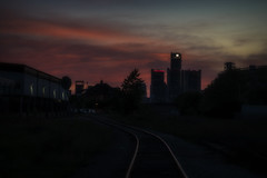 Twilight Sky. Windsor, ON. (Paul Thibodeau) Tags: photooftheday windsor nikond500 sunset twilight detroit renaissancecenter colours silhouettes train tracks