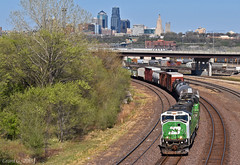 "Westbound Transfer in Kansas City, KS (""Righteous"" Grant G.) Tags: bn burlington northern railroad railway locomotive emd power train trains west westbound transfer freight kansas city up union pacific yard job"