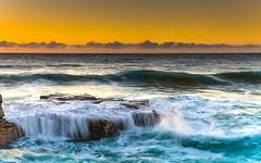 Sunrise Seascape (Merrillie) Tags: daybreak landscape northavoca nature dawn waves waterscape water newsouthwales rocks earlymorning nsw sunrise sky ocean northavocabeach sea rocky coastal morning outdoors seascape avocabeach coast australia centralcoast