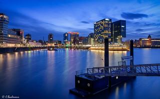 Düsseldorf Media Harbour at blue hour