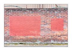 Buff Art, East London, England. (Joseph O'Malley64) Tags: buffart thebuff graffitiremoval graffitiremovalasart foundart randomart urbanart publicart freeart highart artobserved rothkoesque eastlondon eastend london england uk britain british greatbritain terracottapaint brickwork bricksmortar cement pointing hygroscopicsaltsinbrickwork waterintrusion waterdamage wall wallart steeluprights barbedwire corrugatedsteelpanels factory waterpipe hosing algae concrete tarmac concreteblocks damp urban urbanlandscape fujix fujix100t accuracyprecision shapes geometricshapes