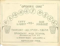City Light vs. Bon Marche basketball game, 1929 (Seattle Municipal Archives) Tags: seattlemunicipalarchives seattle seattlecitylight cityemployees broadwayhighschool basketball posters ephemera 1920s