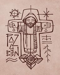 Franciscan brother and christian symbols (iknuitsin) Tags: handdrawn illustration drawing ink sketch image religious religion catholic christian spiritual divine holy sacred jesus christ god franciscan brother monk friar symbols peace sun cross