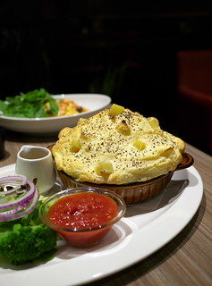 Carbonara covered with fluffy souffle