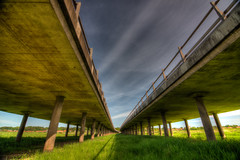 Under The Highway Bridge (Jim Skovrider) Tags: 1116f28lens adobephotoshoplightroom d800 danmark denmark fullframe gudenå hdr highdynamicrange nature nikon nikond800 nikonfx nikonfxshowcase photomatixpro randers randersfjord sky theriverguden tokina ultrawide