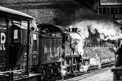 Departing  [Explored 25/4/18] (aljones27) Tags: bw monochrome blackandwhite nnr northnorfolkrailway norfolk train trains engine engines steam steamtrain steamengine heritage preserved old historic b12 8572 weybourne station explored