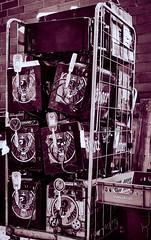 Tower of discarded Jägers (Jaroneko) Tags: my12018 helsinki finland hattutehdas jägermeister minifridge fridge freezer cart ewaste jäger branded blackandwhite monochrome falsecolour