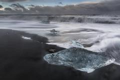 Black Sand Beach, Iceland (angie_1964) Tags: black sand beach iceland ice longexposure nikond850 water ocean sky cloud sunset diamond