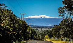 Mauna Kea (wyojones) Tags: hawaii bigisland maunakea whitemountain volcano snowcapped snow poli'ahu kapu astronomicalobservatories village volcanovillage road highway powerline fence