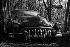 Road maniac (Dennis van Dijk) Tags: urbex ue eu europe germany urban exploration car cars classic bw blackandwhite black white vintage retro forest precious beauty moody rust lost found decay derelict abandoned rotten left behind american buick oldtimer