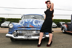 Holly_8830 (Fast an' Bulbous) Tags: classic american car vehicle oldtimer people outdoor girl woman hot sexy chick babe pinup model wiggle dress high heels stockings long brunette hair santapod
