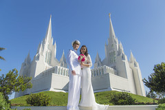 Wedding Day Practice (aaronrhawkins) Tags: wedding bride groom pose temple sandiego lajolla california woman girl bouquet sailor formal portrait lds mormon castle tower church bright blue white colorful color brittany trent marriage marry aaronhawkins wife couple dress happy