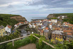 Staithes at dusk (Keartona) Tags: staithes northyorkshire coast dusk village harbour beautiful yorkshire england english colours spring may sea houses roofs picturesque scenic tourism evening landscape