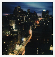 Taylor Street Blue Hour (tobysx70) Tags: polaroid originals color sx70 instant film sx70sonar sonar roidweek roid week polaroidweek spring april 2018 taylor street blue hour san francisco california ca twilight dusk cityscape neon sign traffic lighttrails vanishing point polavacation 042518 day6 toby hancock photography