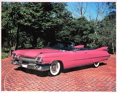 1959 Pink Cadillac Factory Photo (lhboudreau) Tags: vintagepoto vehicle car illustration automobile auto cars illustrations vintagecar classiccar ad advertising advertisement vintageautomobile cadillac sport sporty classy convertible whitewall whitewalltires whitewalls wheels 1950s antique antiquecar antiqueautomobile classic collection carcollection 1959cadillac 1959cadillacconvertible cadillacconvertible pinkcar pinkcadillac redbrick tree trees 1959 factoryphoto 1959pinkcadillac outdoor fins tailfins